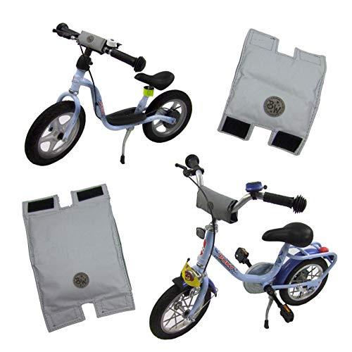 BAMBINIWELT Lenkerpolster, Lenkerschutz für Roller, Scooter, Fahrrad, Laufrad, Dreirad, komplett reflektierend, für Puky Modelle (grau, groß)
