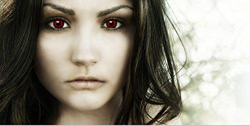 """Farbige Kontaktlinsen """"Dämon"""" + Kunstblut Kapseln + Behälter von FXContacts in rot, weich, ohne Stärke als 2er Pack – angenehm zu tragen und perfekt zu Halloween, Karneval, Fasching oder Fasnacht - 7"""