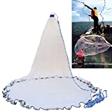 Yeahmart American Saltwater Fishing Cast Net for Bait Trap Fish 4ft Radius with Heavy Duty Real Zinc Sinker Weights and Aluminum Ring, 3/8inch Mesh Size