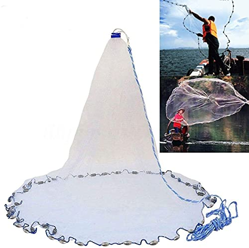 Yeahmart American Saltwater Fishing Cast Net for Bait Trap Fish 6ft Radius with Heavy Duty Real Zinc Sinker Weights and Aluminum Frisbee, 3/8inch Mesh Size