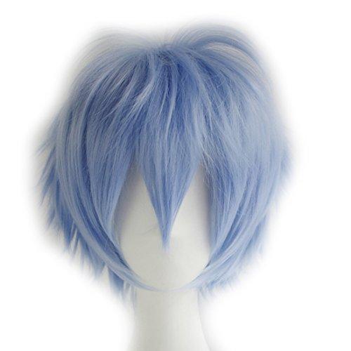 Alacos Short Fashion Spiky Layered Anime Cosplay Wig HalloweenChristmasCarnivalDressUpPretendPlayPartyWigGift+Cap, Light Blue, One Size