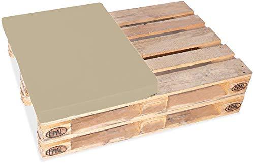 TexDeko Medio cojín para palés europeos 1/2 (60 x 80 cm) acolchado para interior y exterior (altura del acolchado: 12 cm, arena).