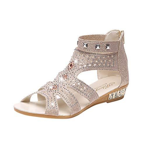 KIMODO® Sandalen Damen keil fischmaul hohl Roma Schuhe Frauen Reißverschluss Mode Frühling Sommer Strandschuhe Tanzschuhe