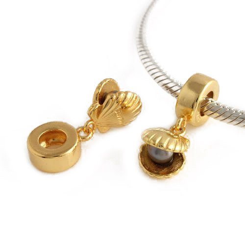 Andante-Stones 925 Sterling Silber Gold Dangle Bead Muschel mit Perle Element Kugel für European Beads Modul Armband + Organzasäckchen