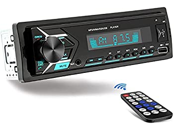 Single Din Car Stereo Bluetooth 7 Color Car Radio Receiver with USB MP3 Player/FM/WMA/TF/AUX-in Hands-Free Calling Wireless Remote Control