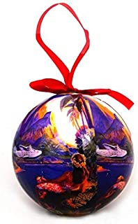 Hawaiian Christmas Tree Ornament Ball - Girl with Airplane