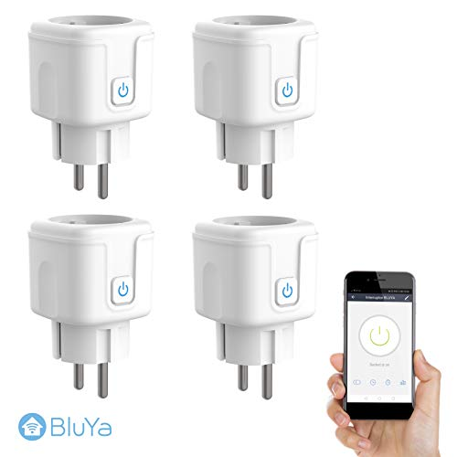 Enchufe Inteligente WiFi BLUYA 16A 3300W, 4 Pack, Mini Smart Plug, Funciona con Amazon, Alexa, Google Home, No Requiere Hub, Función de Temporizador mediante App desde Cualquier lugar.