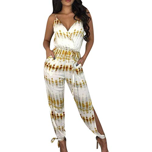 Fannyfuny Mode Damen Jumpsuit Frauen Sexy Sling Rompers Onesie Lang Hosen mit Gürtel Hohe Taille Playsuit Latzhose Schlank Lang Hosen Jumpsuit Casual Strandkleid Overall Marinegelb S M L XL