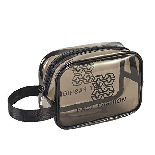 Yowablo Transparente Reisetasche Tragbare Aufbewahrungstasche wasserdichte gepolsterte PVC-Badetasche (20x8x15cm,Grau)
