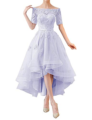 Ci-ONE Lace High Low Wedding Dress Off Shoulder Prom Dresses with 1/2 Sleeves Lavender, 18W