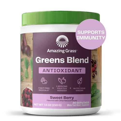 Amazing Grass Greens Blend Antioxidant: Super Greens Powder with Spirulina, Beet Root Powder, Elderberry, Bilberry & Probiotics, Sweet Berry, 30 Servings (Packaging May Vary)