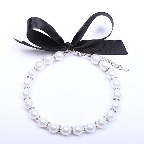 SKS PET Snow White Dog Cat Pearls Necklace Collar Bling Accessories Pet Puppy Jewelry for Girl Dogs Cats Chihuahua Yorkie (M)