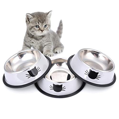 Legendog Futternapf Katze, 3 Stück Edelstahl rutschfest Katzen Napf | Katzennapf Set | Fressnapf Katze | Futterschüssel Katze | Wasser Fütterung Schüssel