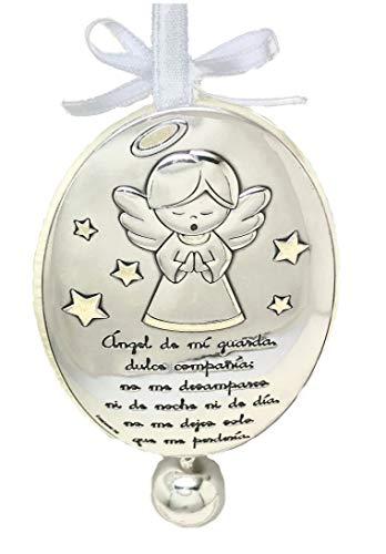 DOCOLASTRA Medallon personalizado de cuna o cochecito en Plata bilaminada con Ángel de la Guarda con inscripción de preciosa oración y Cascabel.Disponible en rosa, azul y beis.