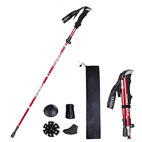 XDSP Bastones de Trekking bastón portátil telescópico antichoque para Caminar con bastón Plegable, Rápidas Plegables contra Golpes para Caminatas Aire Libre Trekking Escalada (Red) 1PCS