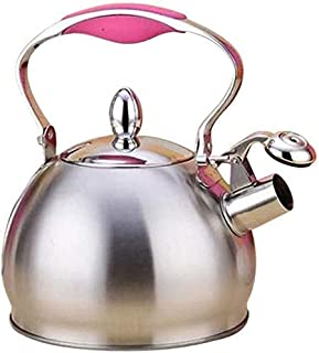 Whistling Kettle 2.5L Stainless Steel Tea Kettle Coffee Tea Pot Thicken Stovetop Induction Home Camping (Color : Pink)