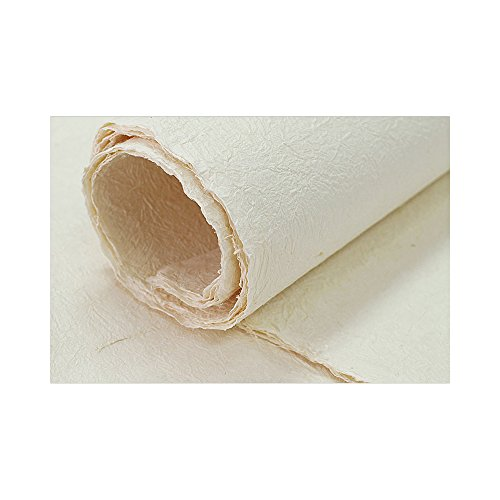 "[5 Pcs] Korean Traditional Mulberry Paper HanJi Handmade Wrinkle Texture Pale Yellow Double Layer 29.9"" x 57.1"""