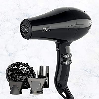 Berta Hair Dryer, Professional Ionic Salon Hair Dryer, Powerful 1875 Watt Ceramic Tourmaline Blow Dryer, Quiet Hair Dryer with Diffuser & 2 Concentrator Nozzle & Comb Attachments - Black