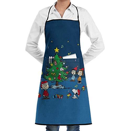 dfgjfgjdfj Delantal ajustable con bolsillos  Navidad S-n-o-o-p-y y amigos negro cocina delantal de cocina para mujeres hombres jefe