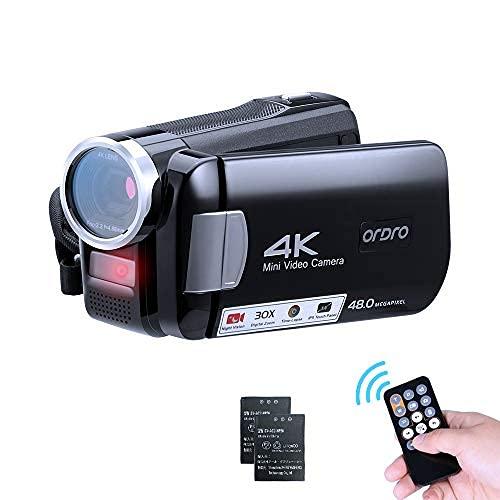 ORDRO 4K Camcorder Videokamera Mini IR Nachtsicht Kamera Full HD 1080P 60FPS 3,0 Zoll IPS Touchscreen YouTube Vlogging Camcorder für Anfänger