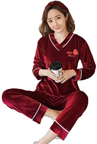 Comfortable Cotton Pajamas Ladies Pajamas Sets Women's Autumn and Winter Long Sleeve Sleepwear Gold Velvet Nightwear Loungewear (Color : A, Size : X-Large)