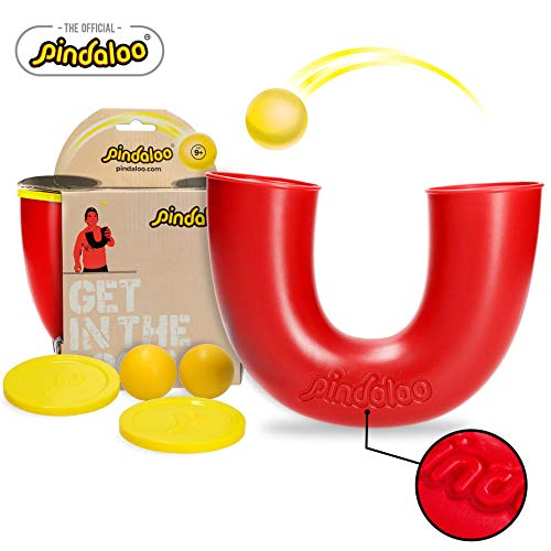 pindaloo Skill Toy + 2 Balls (1+1 Extra Ball). Unique Gift for Kids, Teens & Adults. Fun, Challenging, Develops Motor Skills. for Indoor and Outdoor Play (Red)