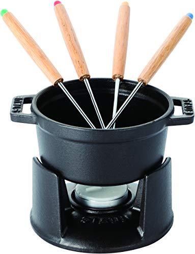 Staub Mini Fondue Set (10 cm, 0,25 L mit mattschwarzer Emaillierung im Inneren des Topfes) schwarz