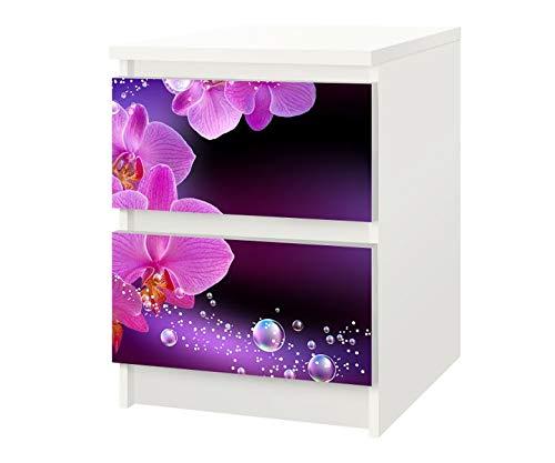 Set Möbelaufkleber für Ikea Kommode MALM 2 Fächer/Schubladen Orchidee Blume lila rosa Kat7 Wasser Blumen Aufkleber Möbelfolie sticker (Ohne Möbel) Folie 25F416