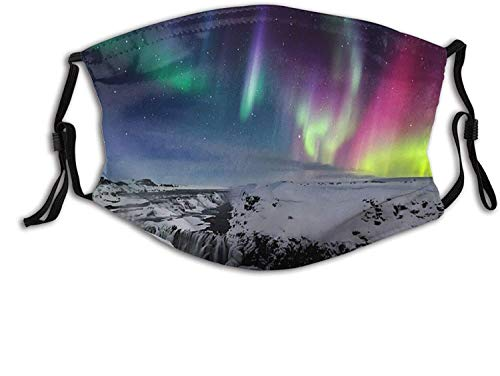 Keyboard cover Gesichtsschutz Mundschutz Island Aurora Borealis Nordlicht Gullfoss Wasserfall Winter Nasenschutz Wiederverwendbar Waschbar Gesichts Schals Mit 2 Filtern