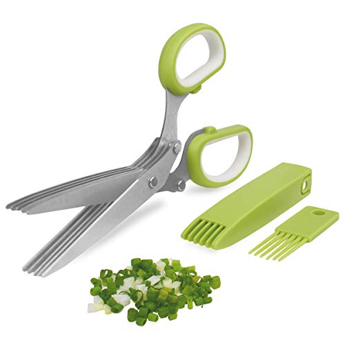 Herb Cutter Scissors 5 Blade Scissors Kitchen Multipurpose Cutting Shear with 5 Stainless Steel Blades & Safety Cover & Cleaning Comb Cilantro Scissors Sharp Shredding Shears Christmas Gift (Green)