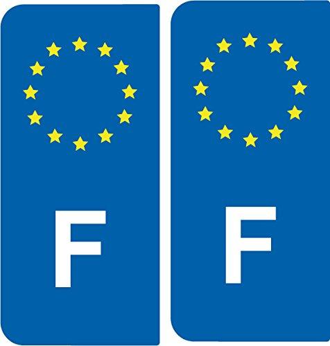 SAFIRMES 2 Autocollants de Plaque d'immatriculation Auto F France - Identifiant Européen