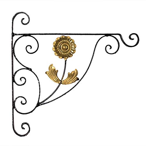 YGWE Draussen Hanging Basket Brackets Metallgarten Wandhaken for Laternen Schmiedeeisen Halter for Planter Blume Aufhänger Zaun Indoor Outdoor Dekor (Color : As Shown, Size : 45x44.5cm)