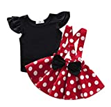 Baby Toddler Girls Ruffles Disney Dress Overall, Cartoon Bow Casual Polka Dot Skirt Set Playwear Outfits (color2, 2-3T)