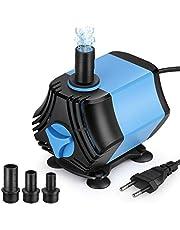Zacro 2000 l/h 40 W waterpomp, geschikt voor aquarium, fonteinen, vijvers, kleine waterpomp met drie sproeiers (13 mm, 16 mm, 19 mm), maximale hoogte: 2,5 m, kabel 1,8 m.