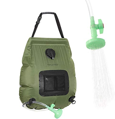 TripleTree Solar Shower Bag for Campng, 5 Gallons/20L Portable Heating Shower Bag with On-Off Switchable Shower Head and Removable Hose for Outdoor Swimming Traveling Hiking