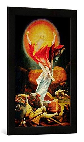 Gerahmtes Bild von Mathis Gothart Grünewald Auferstehung Christi, Kunstdruck im hochwertigen handgefertigten Bilder-Rahmen, 40x60 cm, Schwarz matt