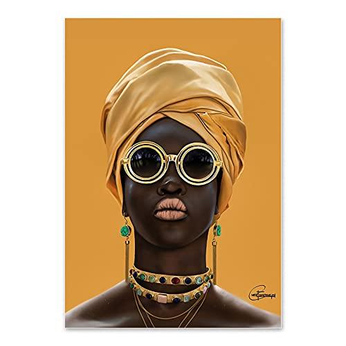 ydlcxst Artista De Moda De Personaje Femenino Africano Pintura De Decoración del Hogar Mujer Negra con Gafas De Sol Pintura Art Deco 50X70Cm Sin Marco