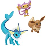 Pokemon Battle Figure Set - Includes 2-Inch Eevee 2-Inch Aipom, and 3-Inch Vaporeon