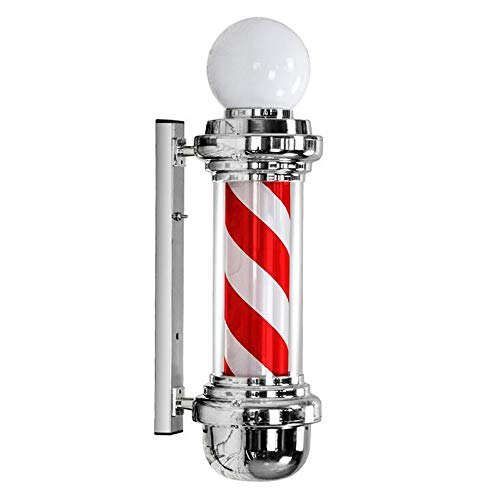Kinfkds LED Poste de Barbero,Firmar Pared Montado Lámpara Blanco Luminoso Giratorio Esclarecedor Luminosa para Peluquería Rayas Impermeable Ligero Cabello Salón Tienda,Impermeable al Aire Libre