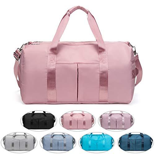 FEDUAN das Original, Sporttasche Reisetasche modisch wasserdicht mit Schuhfach Nassfach für Damen und Herren Yoga Pilates Strand Freizeit Sauna Gym-Tasche Shopping-Bag Weekender Urlaub pink alt-rosa