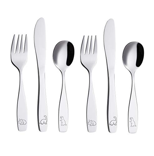 ANNOVA Kids Flatware 6 Pieces Set - Stainless Steel Silverware 2 x Forks, 2 x Safe Table Knife, 2 x Tablespoons - Child Toddler Utensils Lunch Box Dinosaur (Engraved T-Rex, Triceratops, Diplodocus)