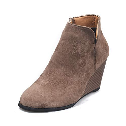 UMore Botas De Nieve De Invierno Mujer Adelgazar Zapatos Calientes Fur Botines Sneakers Zapatos de Plataforma de Cuña de Fitness Zapatos de Andar Impermeable Anti Deslizante Zapatos