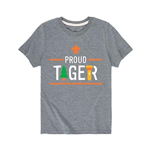 Pramuka Amerika Ikon Tiger Cub Scout - Pemuda Kaos Lengan Pendek Grafis Heather Atletik