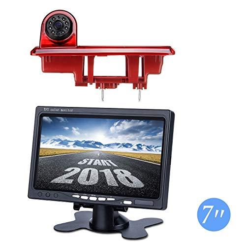 Dachkante Rückfahrkamera integriert in 3. Bremsleuchte Transporter Kamera Set für Opel Vauxhall Vivaro Renault Traffic X82 2015-2018 + 7,0