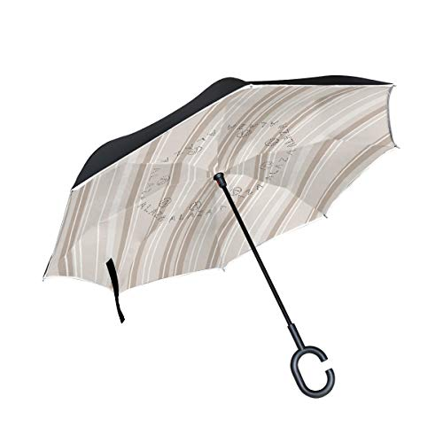 senya Double Layer Inverted Umbrellas Light Purple and White Stripes Folding Umbrella Windproof UV Protection Upside Down for Car Rain with C-Shaped Handle