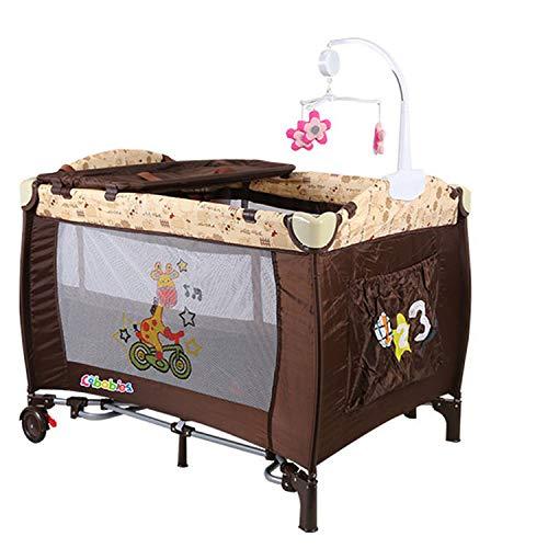 Multifunktionales Kinderspielbett Tragbares Klappbares Reisebett Mit Spielzeug Geeignet Für 0-3 Jahre(100 * 78 * 76cm) braun,Brown