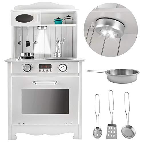 KRUZZEL Classica Bianca Cucina in Legno Giocattolo per Bambini Accessori per Cucina 9146