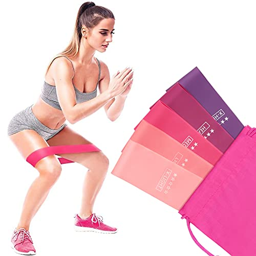 ZKCREATION Elastici Fitness,Set di 5 Bande,Bande di Resistenza Fitness con 5 Livelli di Resistenza per Crossfit, Yoga, Pilates, Squats, Lunges, Fitness a casa,Fascia per Uomo e Donna