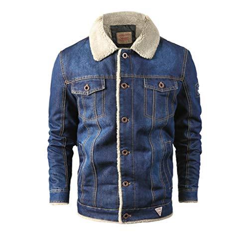 Dasongff Jeansjacke Herren Winter Denim Jacket Gefütterte Jeans Jacke mit Fell Mantel Warme Winterjacke