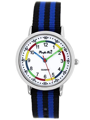Pacific Time Mädchen Jungen Uhr Lernuhr analog Quarz mit Textilarmband schwarz blau 10810
